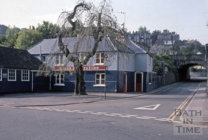 Westmoreland Road and Green Park Tavern, 45, Lower Bristol Road, Bath 1975