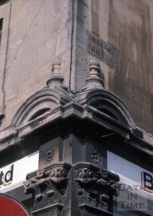 Corner detail of Cheltenham Street and 65, Lower Bristol Road (1, Westmoreland Mart), Bath 1975