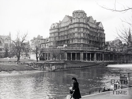The Empire Hotel from the River Avon towpath, Bath 1987