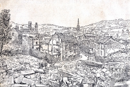 View of Bath from Holloway after the Blitz 1944