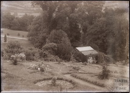 A view of Annie's arboretum and the Suffragettes' Nest, in the grounds of Eagle House, Batheaston c.1910