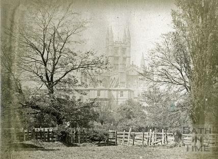 Bath Abbey viewed across the River Avon, Bath 1889