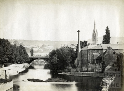 View of Town Mill from Pulteney Bridge, Bath 1873