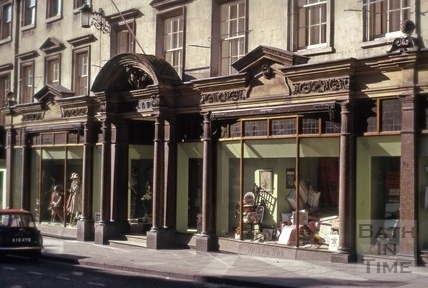 Jolly's shop front, 9 to 14, Milsom Street, Bath 1975