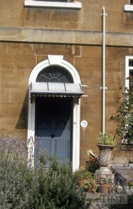 Doorway, 75, Lyncombe Hill (Augusta Place), Bath 1970