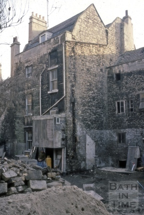 Monmouth Street backs of Nos 25 & 28 during restoration 1975