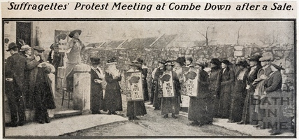 Suffragettes Protest Meeting at Combe Down after a Sale c.1913