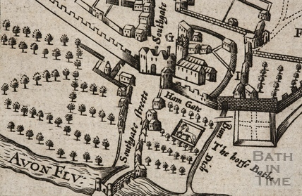 The Horse Bath and Southgate Street from John Speed's Map 1627 - detail