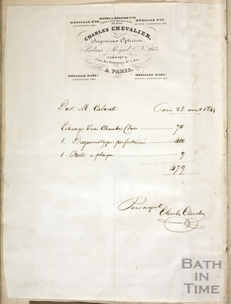 Receipt from Charles Chevalier of Paris for photographic equipment 1841