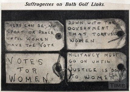 Suffragettes on Bath Golf Links, 3rd March 1914