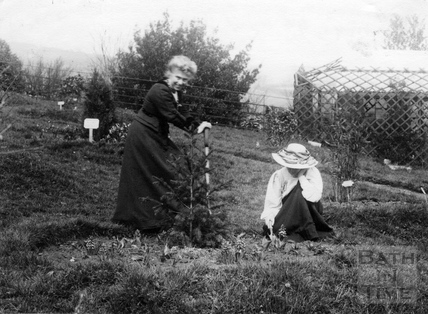 Suffragette Marie Naylor planting tree with Mary Blathwayt 9 April 1910