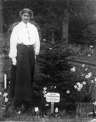 Suffragette Elsie Howey alongside her planting 1909