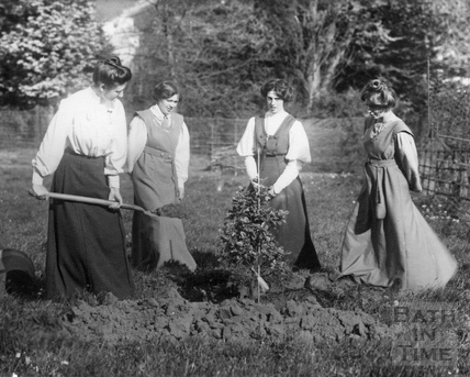 Suffragette Mary Blathwayt planting tree with Vera Holmes, Jessie and Annie Kenney 1909