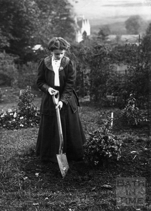 Suffragette Gertrude Stewart planting tree 18 October 1909