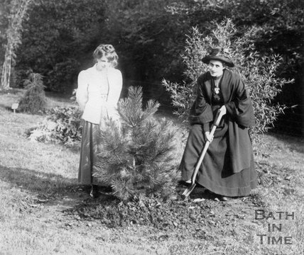 Suffragette Rose Lamartine Yates planting tree with Annie Kenney 30 October 1909