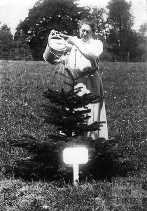 Emily Blathwayt watering tree 1909