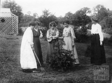 Suffragette Vera Wentworth planting tree with Millicent Brown, Annie Kenney, Mary Phillips and Elsie Howey 1909