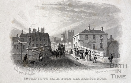 Entrance to Bath, from the Bristol Road 1829