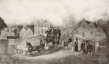 A coach and horses leaving Bath c.1800