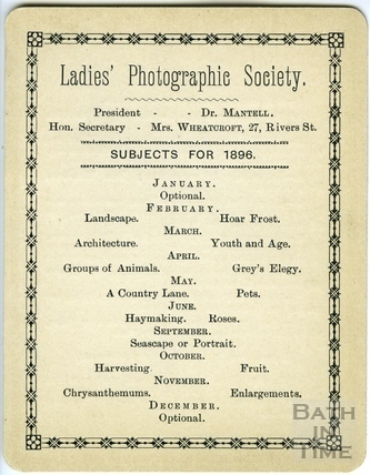 Rule card and Programme for Bath Ladies Photographic Society 1896
