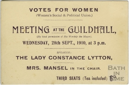 Ticket to Suffragette Meeting at the Guildhall, Bath 1910
