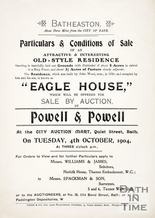 Sale particulars for Eagle House, Batheaston 1904