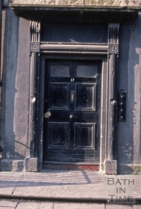 Doorway under planning blight, 17 Great Stanhope Street, Bath 1975