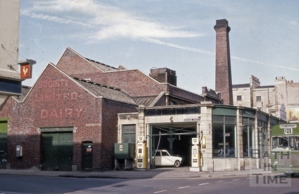 Bath Co-operative Society Ltd. dairy and garage, Newark Street, Bath 1969