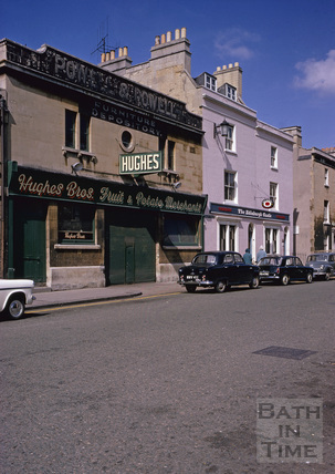 Hughes Bros. warehouse and the Edinburgh Castle, 11, Newark Street, Bath 1967