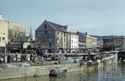 Broad Quay and the demolition of the Old Bridge, Bath 1964