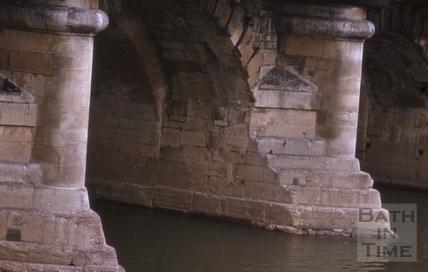 Upstream piers of the Old Bridge, Bath 1964