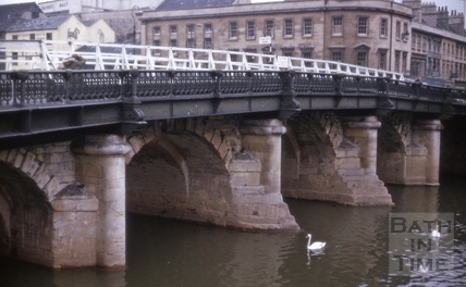 Upstream piers of the Old Bridge, Bath 1964