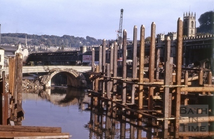 Piles for Churchill Bridge and demolition of the Old Bridge, Bath 1964