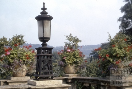 Lantern on stone balustrade, Parade Gardens, Bath 1970