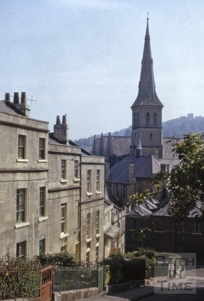 Prior Park Cottages and St. Matthew's Church, Widcombe, Bath 1966