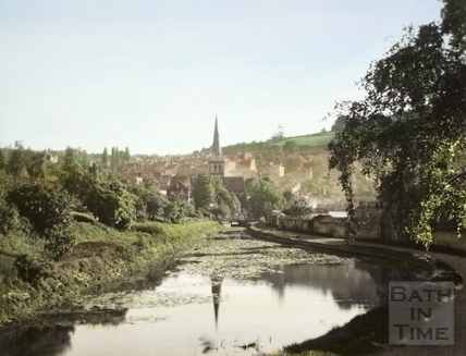 View towards Widcombe, Bath on the Kennet and Avon Canal c.1960