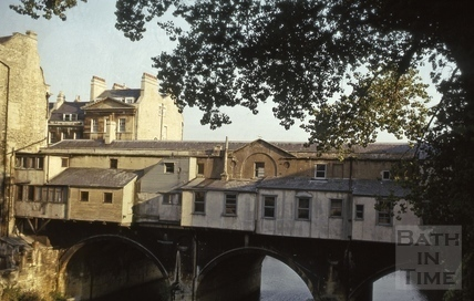 North side of Pulteney Bridge, Bath 1973