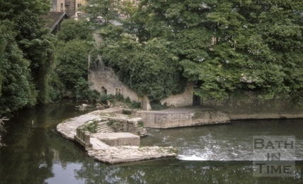 Pulteney Weir and old mill, Bath 1969