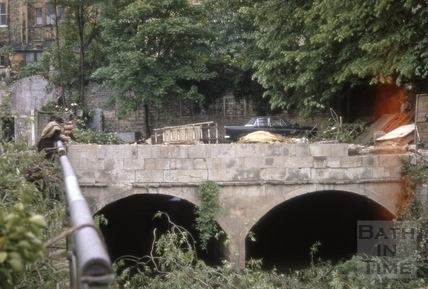 Pulteney Weir bridge and towpath, Bath 1969
