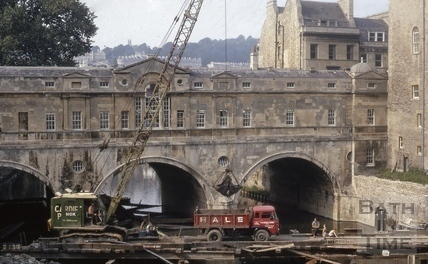 Pulteney Bridge foundations of bridge being secured 1970?