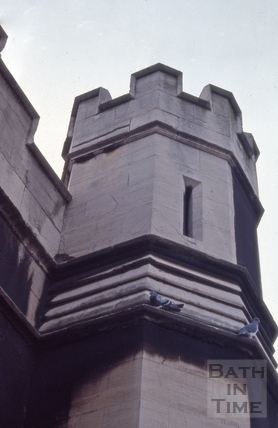 One of the castellated towers on the railway arches, Bath 1964?