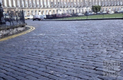 Royal Crescent granite ? setts in road 1985