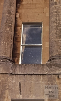 19th century sheet-glass window, Royal Crescent, Bath 1972