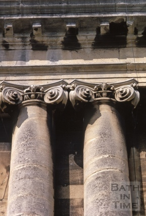 Eroded but surviving Ionic capitals of Royal Crescent 1969