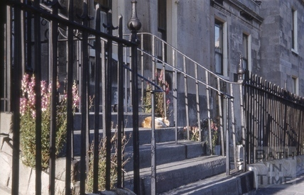No.1 Royal Crescent: railings and steps leading up to main entrance 1969?