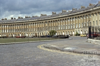 Royal Crescent lamppost removed for filming 1976