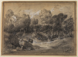 Wooded landscape with deer