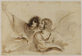 Two angels, looking up to the left, leaning on a cloud