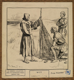 Illustration - a man in a monk's habit showing a fishing net to two men in animal skin tunics