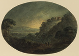 Landscape, evening - two figures walking along a road leading to a valley, a ruin on a wooded hill to the right